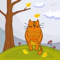 Free Beautiful Kitty Sitting On The Autumn Tree Royalty Free Stock Image - 26771326