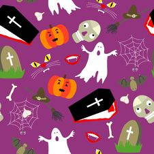 Free Colored Halloween Seamless Pattern Royalty Free Stock Image - 26774736