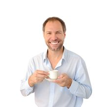 Free Smiling Man Drinking Coffee Stock Photography - 26776892