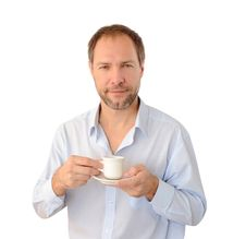 Free Smiling Man Drinking Coffee Stock Photo - 26776970