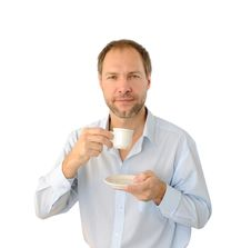 Free Smiling Man Drinking Coffee Stock Image - 26776981