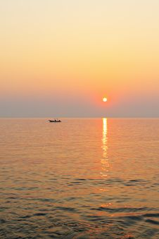 Boat In The Sea At Sunset. Royalty Free Stock Photography