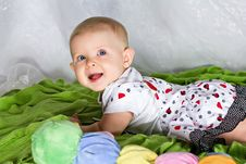 Free Crawling And Smiling Infant Stock Image - 26787021