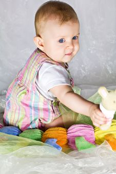 Free Little Baby Girl With Toys Royalty Free Stock Images - 26787449