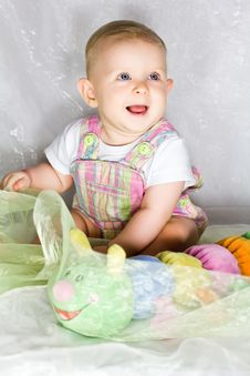 Free Little Girl With Toy Caterpillar Royalty Free Stock Images - 26787469