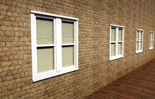 Free White, Closed Windows In A Stone Wall Royalty Free Stock Images - 26790449