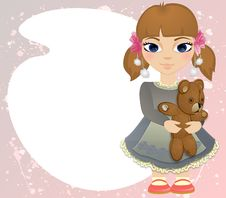 Boho Baby Girl With Bear Card Royalty Free Stock Photo
