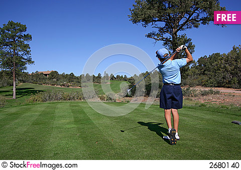 Free Young Golfer Hitting Off Tee Stock Photo - 2680140