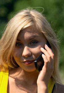 Pretty Girl With Mobile Phone Stock Image