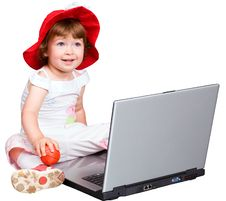 Free The Girl And A Computer Royalty Free Stock Image - 2682956