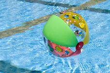 Inflatable Ball In Pool Royalty Free Stock Photos