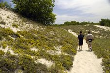 Walking A Dune Trail Stock Photography