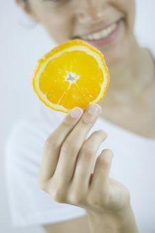 Free Girl With Orange Stock Photography - 2685082