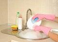 Free Women&x27;s Hands Washing Dish Royalty Free Stock Photos - 26807988