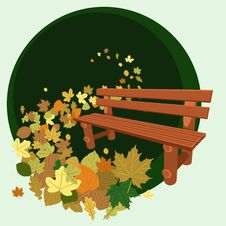 Wooden Bench And Leaves Royalty Free Stock Photos