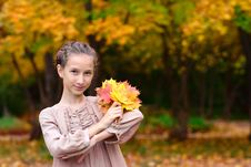 Portrait Of Girl With Maple Leaves Royalty Free Stock Image
