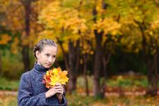 Portrait Of Girl With Maple Leaves