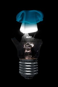 Free Burning Light Bulb With Cracked Glass Royalty Free Stock Images - 26818199