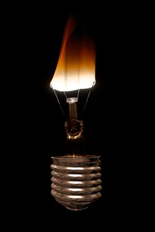 Free Burning Light Bulb Royalty Free Stock Image - 26818206