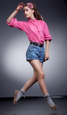 Free Running Woman In Elegant Jeans Shorts Stock Image - 26819211
