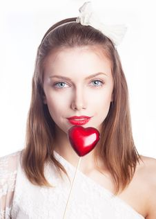 Free Beautiful Girl, Red Heart - Valentine S Day Stock Image - 26819351