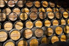 Free Wooden Wine Barrels On A Cellar Stock Images - 26823964