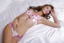 Free Beautiful Brunette In Bed Stock Photo - 26825410