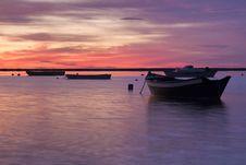 Sunrise With Fishing Boats Stock Image