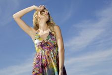 Free Beautiful Girl On Background Blue Sky Royalty Free Stock Photography - 26825497
