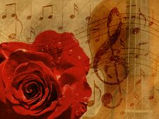 Free Music Rose Background Royalty Free Stock Photos - 26825638