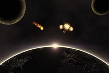 Planets, Asteroid And Spaceship Stock Photo