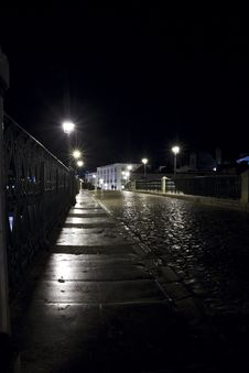 Tavira City Street By Night Royalty Free Stock Photography