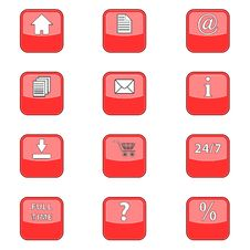 Free Big Set Web Of Red Icons Royalty Free Stock Photography - 26829387