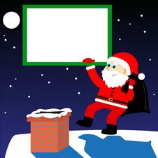 Frame With Santa On The Roof Royalty Free Stock Photography