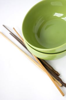 Free Green Bowl And Chopstick Royalty Free Stock Image - 26835586