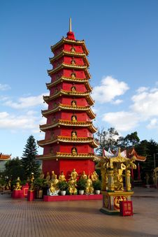 Red Chinese Tower In Monastery Outside Against The Stock Images