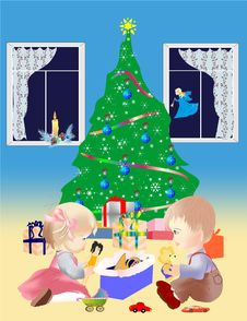 Under The Christmas Tree Royalty Free Stock Images