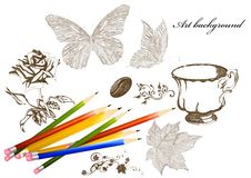 Art Background With Pencils And Hand Drawn Objects Royalty Free Stock Photo