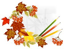 Autumn Banner With Pencils, Leafs And Paper Royalty Free Stock Image