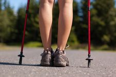Free Nordic Walking In Summer Royalty Free Stock Photo - 26844605