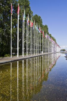 Free Long Avenue Of Flags From Various Countries Of The World Stock Photos - 26847903