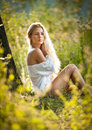Free Young Woman On Field In White Dress Stock Images - 26852564