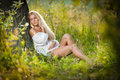Free Young Woman On Field In White Dress Royalty Free Stock Photography - 26852677