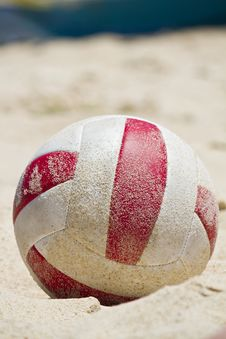 Beach Ball On Sand Stock Photo