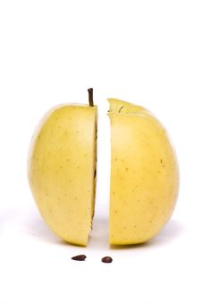 Free Yellow Apple Sliced In Half On White Royalty Free Stock Image - 26854526