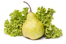 Green Pear With Lettuce On White Stock Images