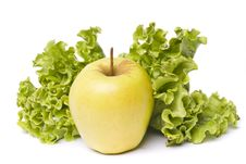 Free Yellow Apple With Lettuce On White Royalty Free Stock Photography - 26854597