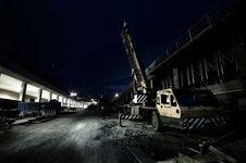 Mobile Crane At Night Stock Photo