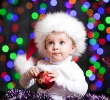 Free Funny Baby In Santa Claus Hat Royalty Free Stock Photos - 26861208