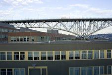Boxy Office Buildings Under Bridge Royalty Free Stock Photo
